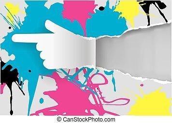 impressão, cores, papel, mão
