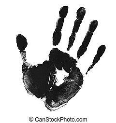 impressão, de, mão
