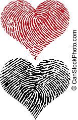 impressão digital, corações