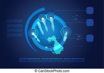 impressão, digital, mão