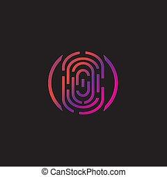 impressão digital, vetorial, abstratos, ícone