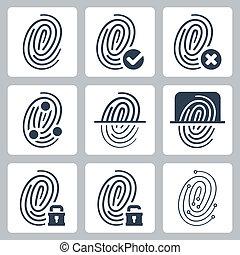 impressão digital, vetorial, jogo, ícones