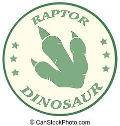 impressão, dinossauro, pata, etiqueta