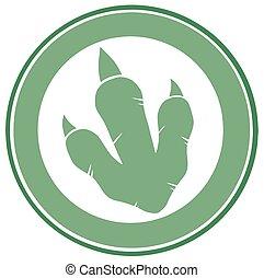impressão, dinossauro, pata, verde, etiqueta