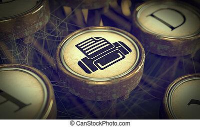 impressão, experiência., grunge, key., máquina escrever