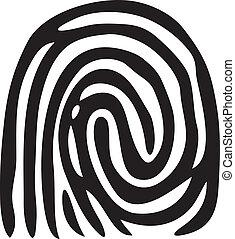 impressão, fingerprint), (vector, dedo