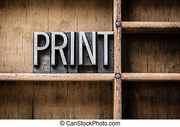 impressão, gaveta, tipo, letterpress