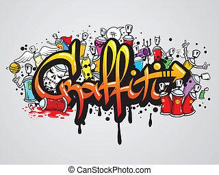 impressão, graffiti, composição, caráteres