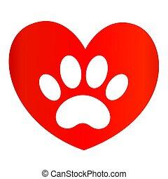 impressão, heart., animal, pata