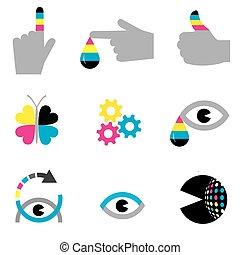 impressão, indústria, ícones, conceitos