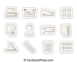impressão, indústria, ícones