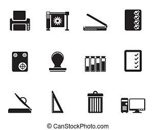 impressão, indústria, silueta, ícones