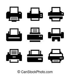 impressão, jogo, ícone