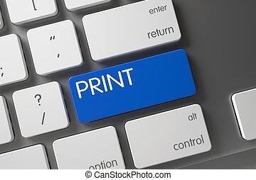 impressão, keyboard., closeup, 3d.