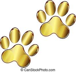 impressão, logotipo, cão, pata