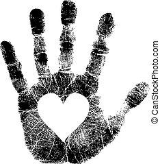 impressão mão, com, coração