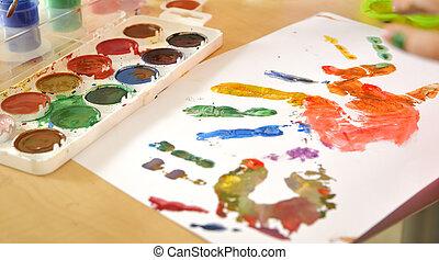 impressão mão, ligado, papel