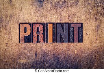 impressão, madeira, conceito, tipo, letterpress