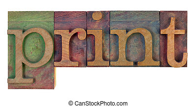 impressão, madeira, tipo, letterpress