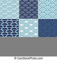 impressão, oceânicos, seamless, ponto, onda