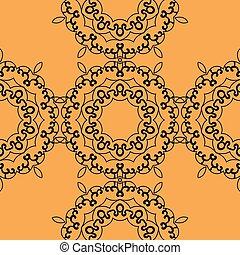 impressão, oriental, seamless, laranja, experiência.