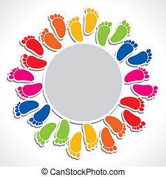 impressão pé, coloridos, arranjo