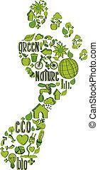 impressão, pé, verde, ambiental, ícones