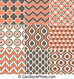 impressão, padrão, seamless, retro