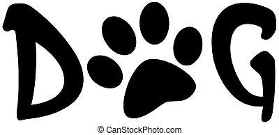 impressão, palavra, cão, pata