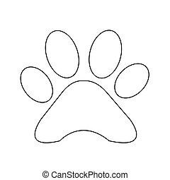 impressão, pata, animal, ícone