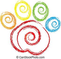 impressão pata, com, swirly, coração, logotipo