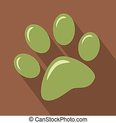 impressão, pata, verde, ícone