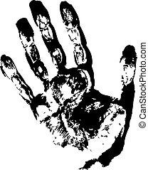 impressão, pretas, mão