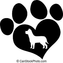 impressão, pretas, silueta, cão, pata