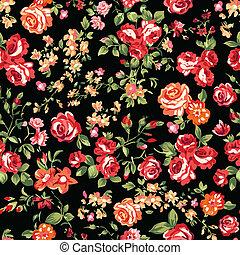 impressão, rosas, preto vermelho