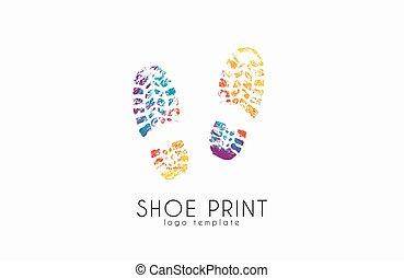 impressão sapato, logo., cor, sapato, print., criativo,...