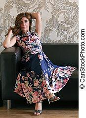 impressão, sofá, mulher, vestido, flor