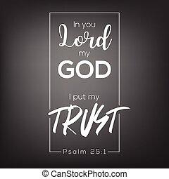 impressão, verso, confiança, deus, ou, bíblia, fé, senhor, meu, camisa, tu, ponha, cartaz, tipografia, t