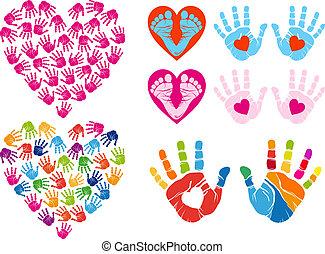 impressão, vetorial, jogo, corações, mão