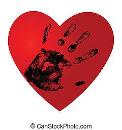impressão, vetorial, ouvir, mão