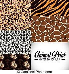impressões, animal, design.