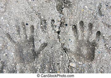 impressões, cimento, mão
