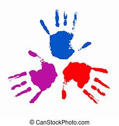 impressões, colorido, mãos humanas