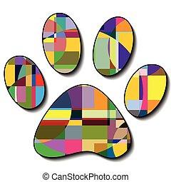 impressões, coloridos, pata