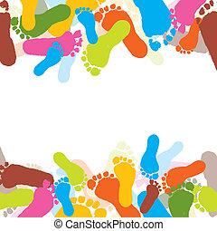 impressões, de, foots, de, a, criança, vetorial