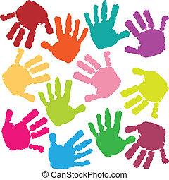 impressões, de, mãos, de, a, criança