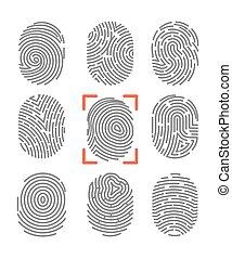 impressões digitais, jogo, ícones, fingertip, vetorial, ...