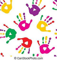 impressões, fundo branco, coloridos, mão