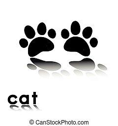 impressões, gato, pata