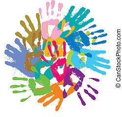 impressões, multi-colorido, mãos